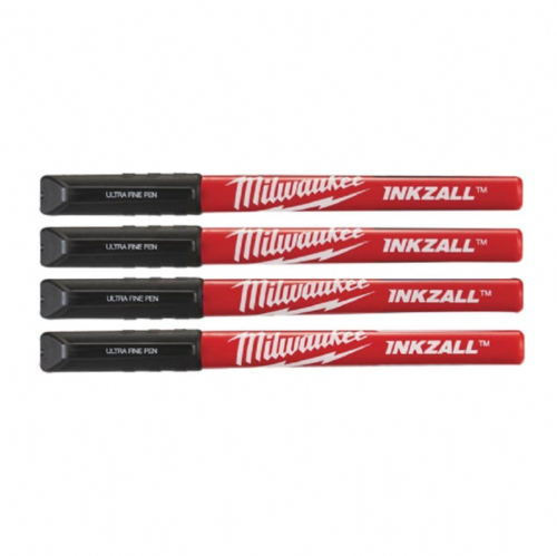 Milwaukee 48223164 INKZALL™ Ultra Fine Tip Marker Pen Black Pack of 4